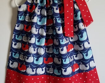 Pillowcase Dress with Whales Girls Dress Whale Dress Nautical Dress for Ocean Party Patriotic Dress Girls Outfit with Whales Red White Blue