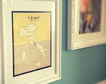 Typographic Print, Italy Map, Modern Baby, Nursery Art, Baby Shower Gift, Romantic Art, Italian, Illustration, Travel Theme, Digital Print