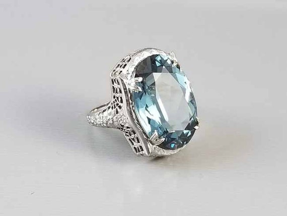 Antique Art Deco 14k white gold ornate filigree solitaire teal blue green 18.34 carat synthetic spinel cocktail statement ring, size 5