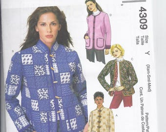 McCalls Pattern M4309  from 2003,  Misses Lined Box style Jacket.  Bust 29 1/2-36 , UNCUT