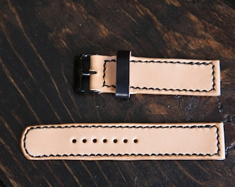 20mm Hand Stitched Natural Vegetable Tanned Watch Strap Made to Order and Customizable