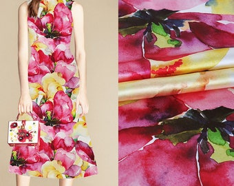 Watercolor Floral Print White Stretch Silk Satin Fabric Width 42 inch