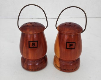 ON SALE Vintage Salt and Pepper Shaker Wooden Lantern Shapes from Yellowstone National Park