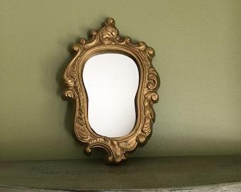 Vintage  Oval Mirror in Wooden Frame