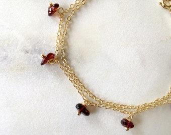 Natural Garnet Stone Bracelet in Gold, January Birthstone Bracelet, Bracelet Gift For Her - Gemstone Choice