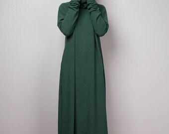 Green dress, Mid length turtleneck dress, Tube dress, Long sleeve dress, knitted green dress