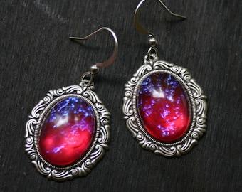 Dragon Breath Fire Opal Cameo Earrings