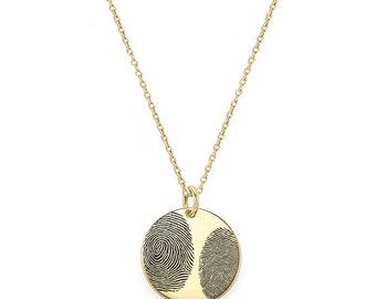 "Two Actual Fingerprints 3/4"" disc Necklace in 18k Yellow Gold Plated 925 Sterling Silver, Personalized Fingerprint Jewelry, Christmas Gifts"