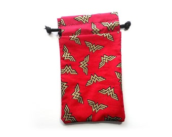 Wonder Woman DC Drawstring Dice Bag for Cell phones, Nintendo DS XL, Dice, cards, or anything!