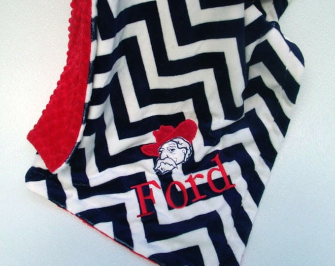 red and navy blue chevron minky blanket, for baby boy