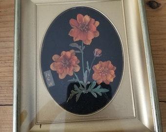 Vintage Flower Art in Gold Frame