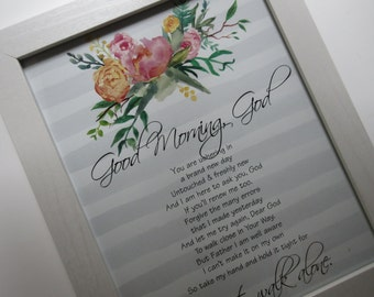 Good Morning God Prayer Christian WORD Art Wall Art