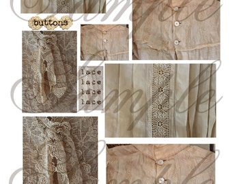 TiffanyJane Vintage Blouses Collage Sheet---Plus a 2nd Freebie--For--Art--Collages-Mixed Media- Instant download for art tags embellishments