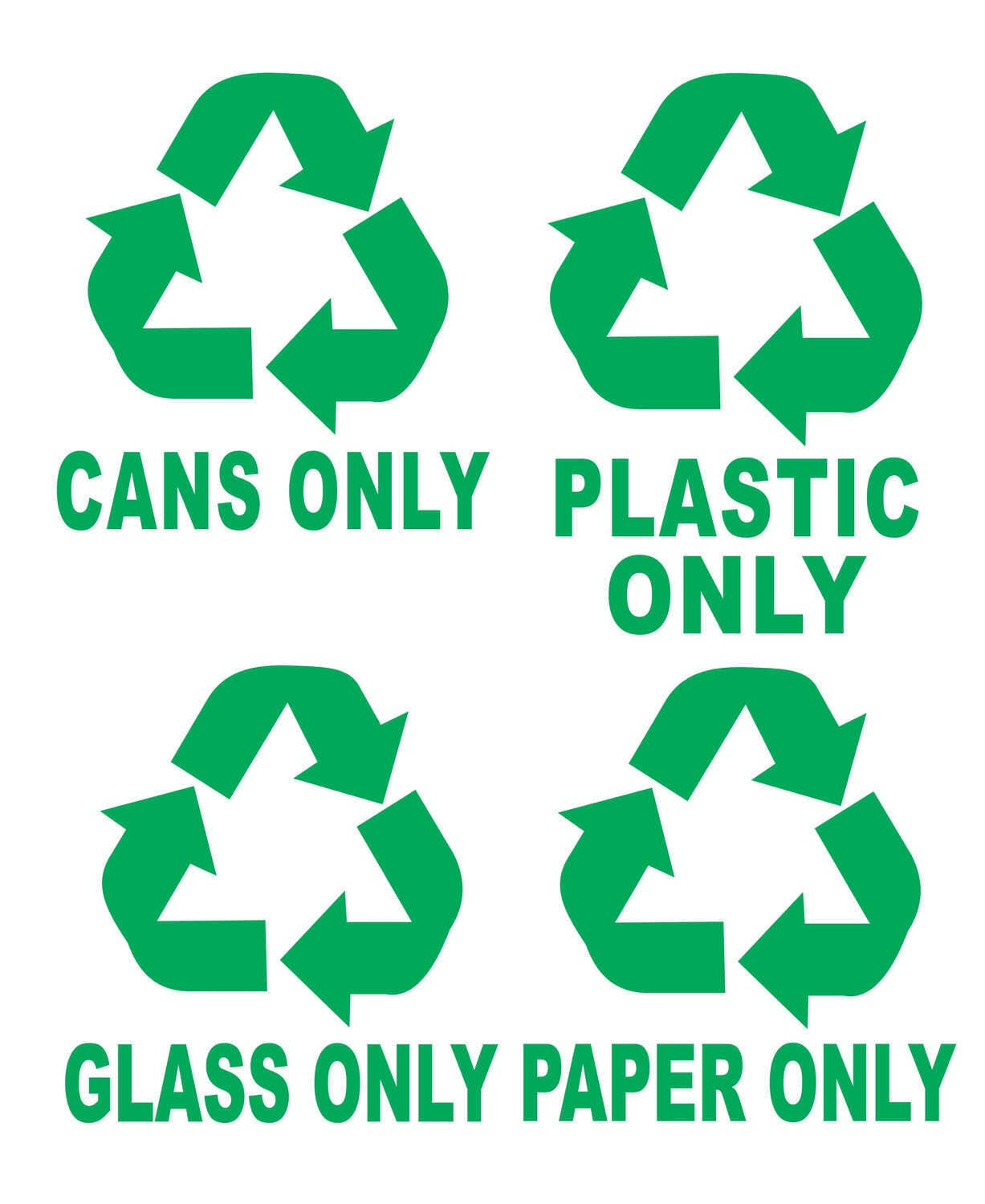 Recycle symbols cans plastic glass paper trash bin garbage zoom biocorpaavc
