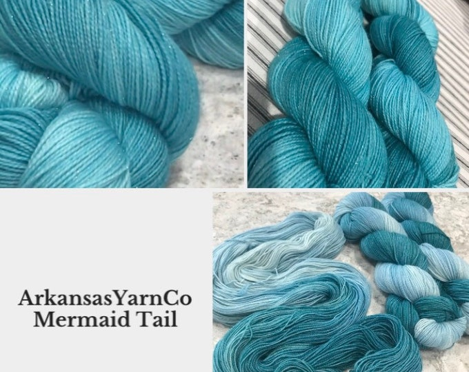 Mermaid Tails- Sparkle/Hand Dyed Yarn/Indie Dyed Yarn/Knitting/Crochet/Sock Yarn/Shawl yarn/SW Merino Nylon/Tonal yarn