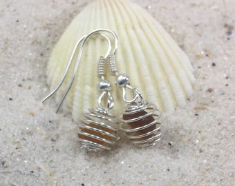 Beer Bottle Brown Sea Glass Caged wire Earrings, Brown Sea Glass Beachy Jewelry gift for Sister, Girlfriend, Root Beer Brown present for her