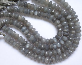 Grey Moonstone Faceted Rondelles, Grey Moonstone Rondelle Beads (7 to 9 mm)