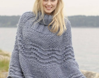 Knit poncho,Hand knitted poncho in wool for women, made to order