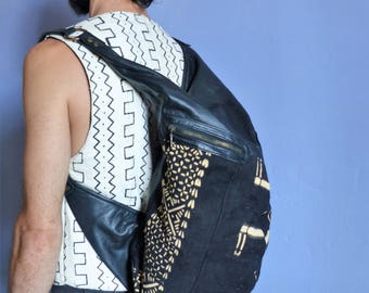 Tribal leather backpack and black and white cotton, AOR, ethnic, Africa, festival, unisex