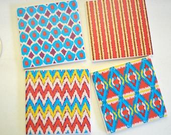 Ceramic Tile Coasters - Persimmon