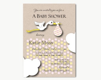 Stork   Baby Shower Invitations Printable DIY