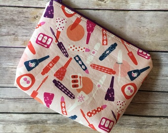 Makeup Bag, Makeup Fabric, Pink Cosmetic Bag