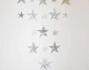 "Mobile wall origami ""stars"" blue, mustard, grey and white"