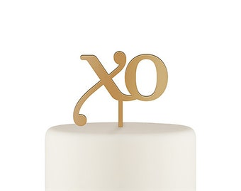 XO Acrylic Wedding Cake Topper - Kiss and Hug - Wedding Keepsake - Acrylic Cake Topper - Gold Acrylic - Baby Shower - Anniversary - Party
