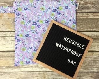 SALE - wet bag, reusable bag, waterproof bag, diaper bag, travel bag, makeup bag, toiletry bag, laundry bag, heat sealed bag, floral bag
