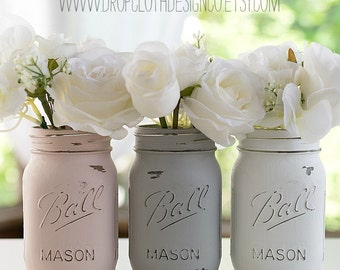 Pink, Gray, White Painted Mason Jars - Weddings, Showers, Parties, Home Decor - Set of 3