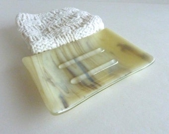 Large Soap Dish in Brown and French Vanilla Streaky Fused Glass by BPRDesigns