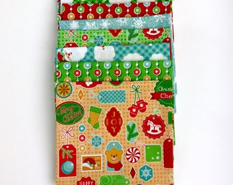 Christmas Bundle of 10 Fat Quarters, Christmas fat Quarter bundle 100% cotton Fabrics for Quilting and all sewing projects