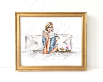 Breakfast in Bed (Choose your hair color/skintone) Fashion Illustration Print