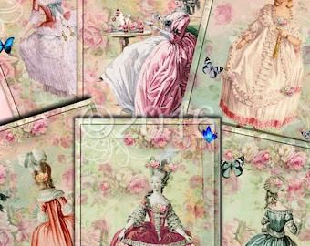 Instant Download  - Marie Antoinette 4 - ACEO - Digital Download - Printable  Digital Collage Sheet