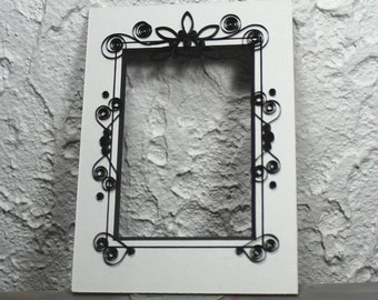 mat-decorative mat-quilled mat-quilling-frame-picture frame-rectangular mat-black and white mat
