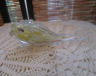 Vintage Glass Fish , White and Yellow Colour