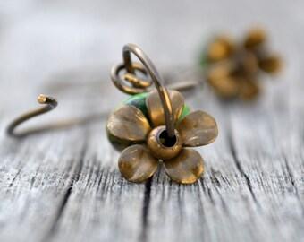 Woodland Flower Bronze Wire Earrings Green Mosaic Gemstone