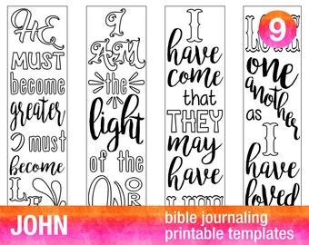JOHN - 4 Bible journaling printable templates, illustrated christian faith bookmarks, black and white bible verse prayer journal stickers