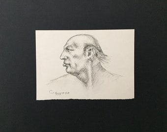 Original Art Sketch Charcoal Signed By Alfio Grasso Face Man Portrait Profile Drawing
