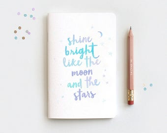 Birthday Gifts for Her - Midori Travelers Notebook Insert & Pencil, Shine Bright Like the Moon and Stars, Watercolor Style