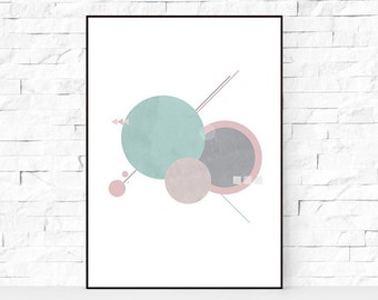 Mint geometric print, printable wall art, Scandinavian print, digital print, geometric poster, digital art, Scandinavian art, geometric art