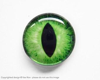 25mm handmade glass eye cabochon - green cat or dragon eye - standard profile