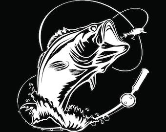 Bass Fishing #7 Logo Angling Fish Hook Fresh Water Hunting Largemouth Smallmouth Striped .SVG .EPS .PNG Clipart Vector Cricut Cut Cutting