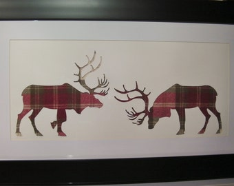 Scottish Art Large Rutting Stag Picture with Red/Cream Tweed
