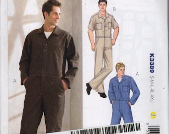 Kwik Sew 3389 Mens  Zip Front Jumpsuit Coveralls  Uniform Overalls Pattern Adult Teen Sewing Pattern S M L XL XXl Chest 34 - 52 UNCUT