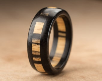 Custom Pale Moon Ebony Wood Ring - 8mm