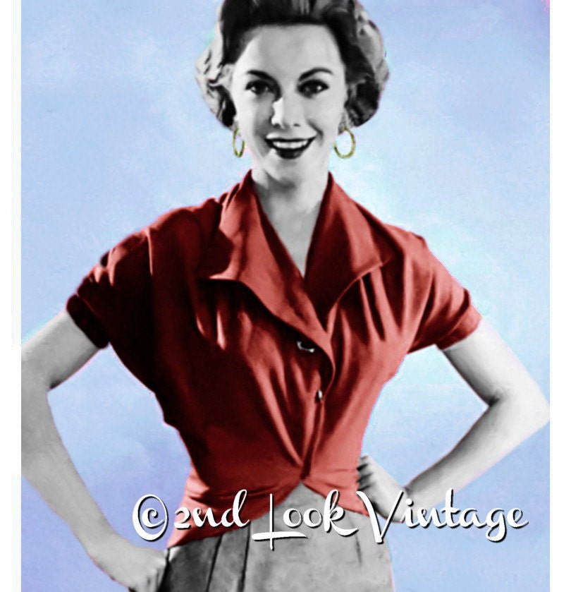 Vintage 1950er Jahre Schnittmuster wickeln Bluse
