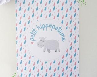 """Children illustration """"Little Hippo"""""""