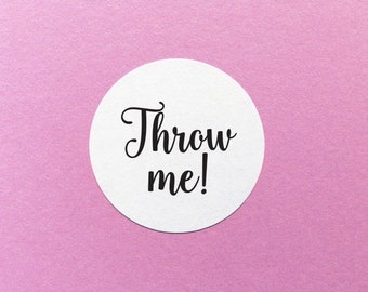 Throw Me Sticker, Wedding Labels, Confetti Box Label, Wedding Confetti Stickers, Toss Me Label, Throw Me Wedding Sticker, Wedding Stationery