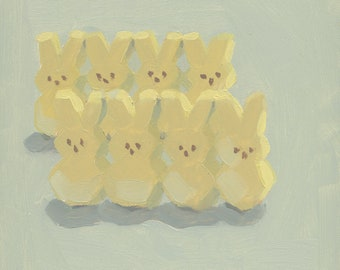 Peeps Easter Bunnies oil painting painting realism blue yellow candy square art